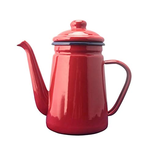 FUYIO 1.1L Cafetera de Esmalte de Alto Grado Verter sobre hervidor de Agua Barista Leche Jarra de Agua Jarra Tetera para Cocina de inducción de Gas, Rojo