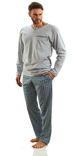 Sesto Senso Herren Schlafanzug Lang Baumwolle Pyjama Langarm Shirt mit Tasche Pyjamahose Zweiteilig Set Bunt Nachtwäsche M Melange