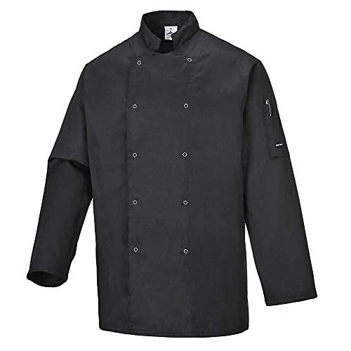 Portwest C833BKRXL Chaqueta de Chef, Suffolk , XL, Negro (Black)