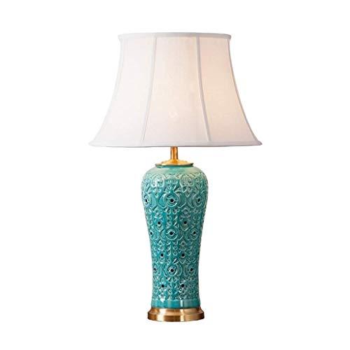 LLYU keramiek E27 decoratieve tafellamp, tafellampen met stoffen kap voor slaapkamer, woonkamer, eye-caring, 40W