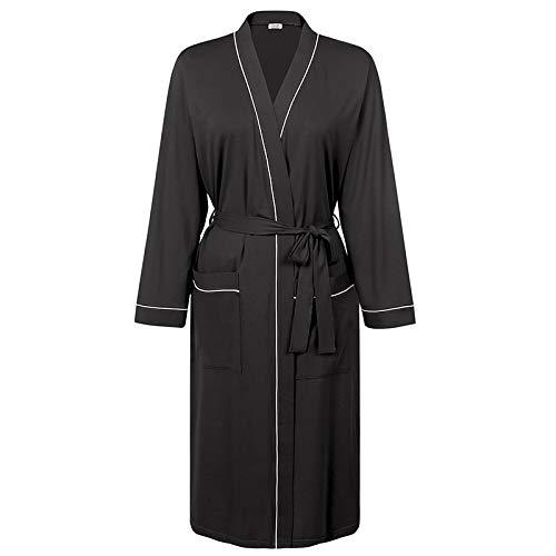 Pyjama Damen Nachthemd Schlafanzug Frauen Baumwolle Kimono Robe Leichter Bademantel Lange Bademantel Mit Taschen Bademantel Frauen XXL Schwarz