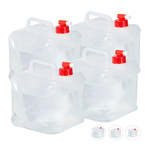 Relaxdays Faltkanister 4er Set, 5 l, Hahn, Schraubdeckel, Tragegriff, Wasserkanister Camping, BPA-frei, transparent/rot