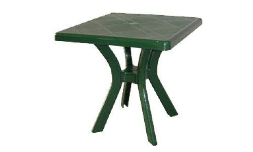 Mesa de jardín de resina verde con travesaño central 75 x 75 cm mesa cuadrada para exterior