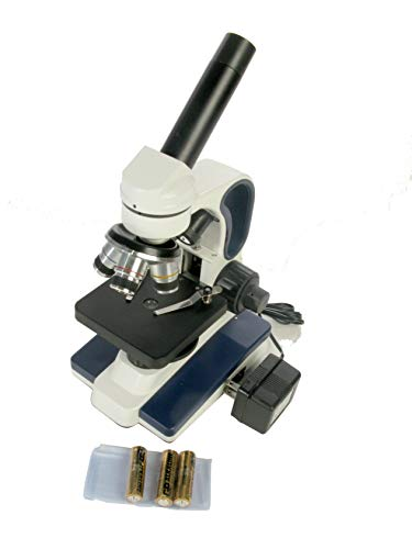 American Educational 7-1358 Basic Monocular Compound Microscope, WF10x Eyepiece, 40x-400x Magnification, Brightfield, Tungsten Illumination, Plain Stage, 110V or Battery-Powered