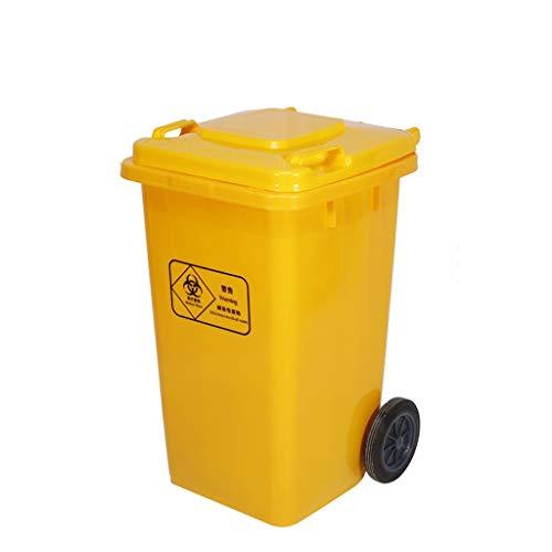 Cubos de reciclaje El bote de basura amarillo de 100 litros, los colores brillantes al aire libre tipo pedal Pedestal de basura Fábrica médica Espesar el bote de basura con tapa con rodillo HeWHui