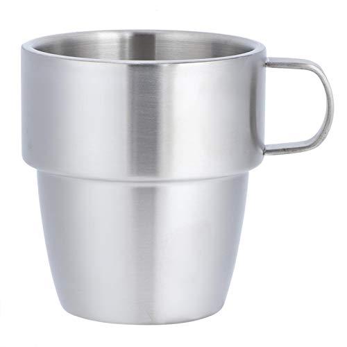 FEBT Taza de café, Taza de café de Doble Capa de Acero Inoxidable 304 para el hogar, Taza de café con Mango de 300 ml