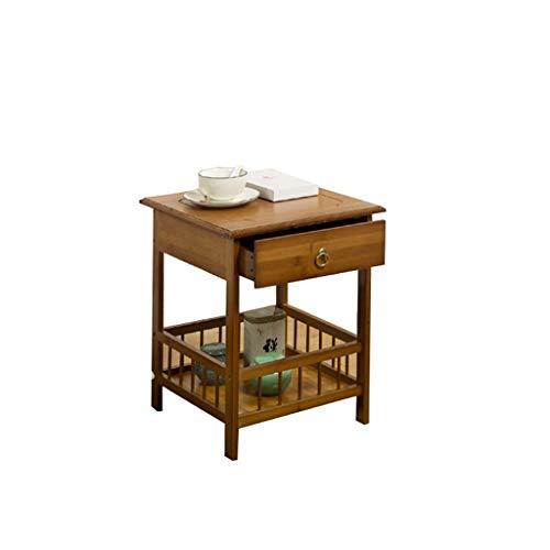 HXCD Mesa Auxiliar de Cama Retro, Mueble de Noche Blanco con 2 cajones, Muebles de Dormitorio de Madera, mesas Nido de Color Madera (tamaño: A)