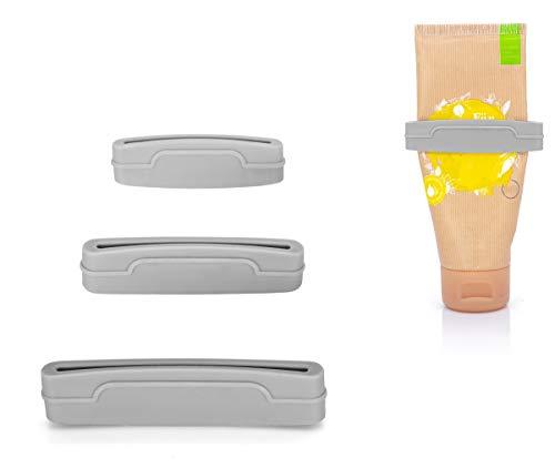 MyGadget 3X Tubenquetscher Set für alle Tuben Größen - Ausdrücken von Zahnpasta, Creme, Kosmetik, Farben - Tubenausdrücker Squeezer Tubenpresse - Grau