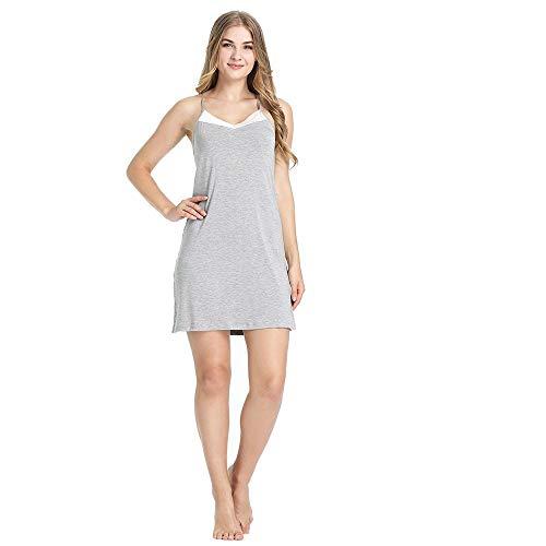 Erotische Dessous Set Womens Soft Bamboo Nighties Nachthemd Kurzes Schlafkleid Mit Riemen Nachtwäsche Für Damen Fashion Sleepshirt-Grey_M