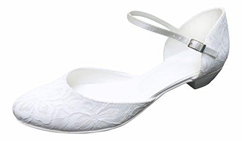 Zapatos de tacón para novia con punta redonda y correa, color blanco,...