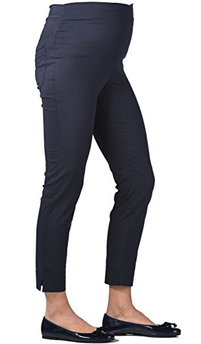 Christoff 7/8 Schwangerschaftshose Umstandshose Sommer-Hose - Straight Fit gerades Bein - Comfort Bund - 539/46 - schwarz Black - Gr. 48 / XXXXL