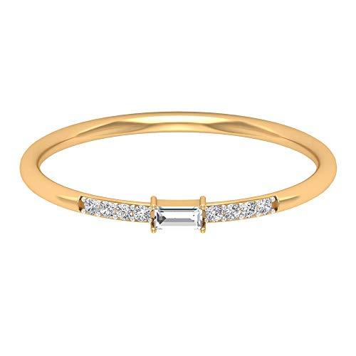 Anillo de boda delicado, solitario Baguette anillo de diamantes, redondo de diamante, anillo de novia minimalista, regalo de dama de honor, anillo de promesa para niñas, 14K Oro amarillo, Size:EU 46