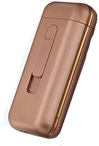 シガレットケース、電気ライター付きUSB分離可能全パッケージタバコ用充電式20ピースキングサイズ、アウトドアキャンプハイキングに最適 (Rose gold)