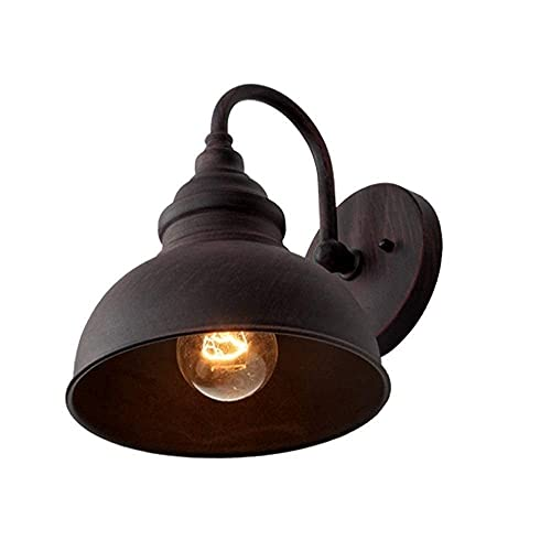 BANNAB Lampada da fienile retrò Industriale Impermeabile da Esterno in Ferro Art Portico Decorazione Applique da Parete Dme Corridoio oir Applique da Parete per Esterni E27/E26 Collo D'Oca