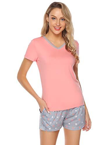 Hawiton Damen Pyjama Schlafanzug Kurz Sommer Zweiteilige Nachtwäsche Hausanzug Sleepwear Kurzarm V Ausschnitt Rot XL