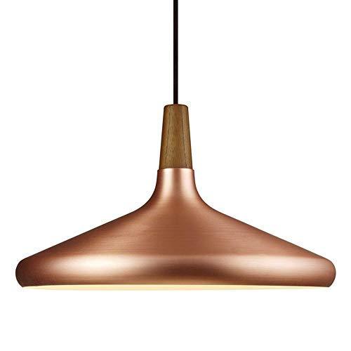 IW.HLMF Lámpara Colgante Industrial Moderna para lámpara Colgante de Techo nórdico de Oro Rosa Pantalla de Metal de Madera E27 Altura Ajustable Isla de Cocina Luces Colgantes Cafe Bar Sala de Estar