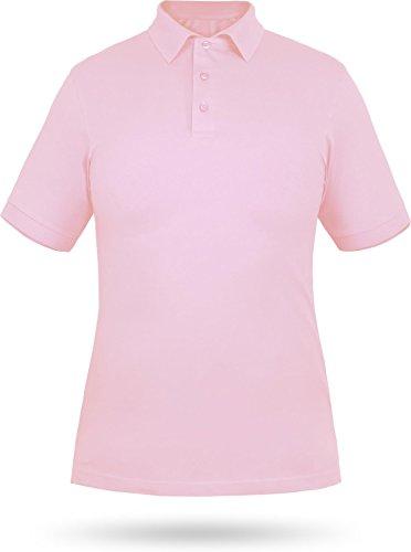 normani Damen-Piqué-Polo mit Ärmelbündchen aus 100% gekämmter, ringgesponnener Baumwolle von Größe S-XXL Farbe Rose Größe X-Large