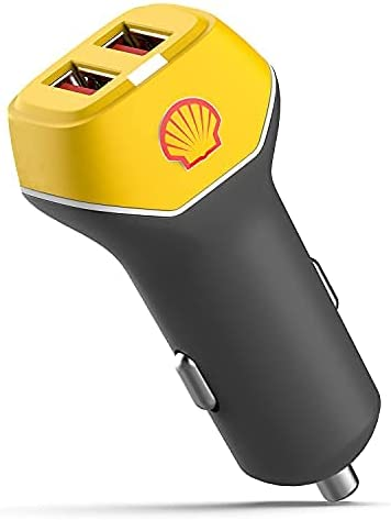 Shell Mini Car Charger - Fast Charge Dual Port USB 24W Adapter with LED Indicator, Fast Charging for iPhone Pro/Max/Mini, iPad Air/Mini, Android & USB Gadgets
