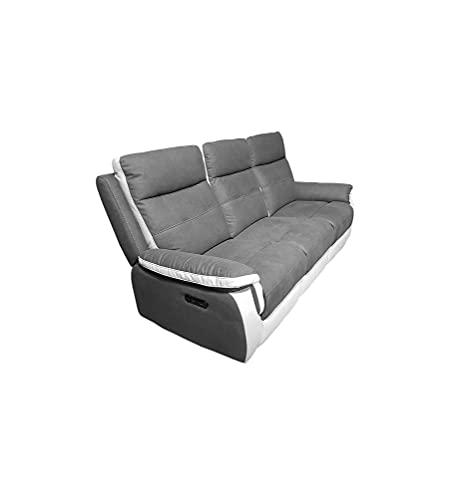 Meubletmoi - Sofá relajante eléctrico de 3 plazas, color gris y blanco,...