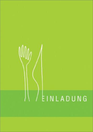 Helga Bühler 5-delige set: Designer uitnodigingskaart voor het eten met vork en mes in knatsch groen