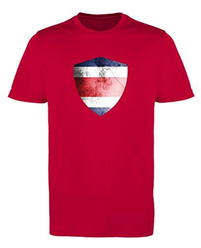 Comedy Shirts - Costa Rica Trikot - Wappen: Groß - Wunsch - Herren Trikot - Rot/Weiss Gr. S