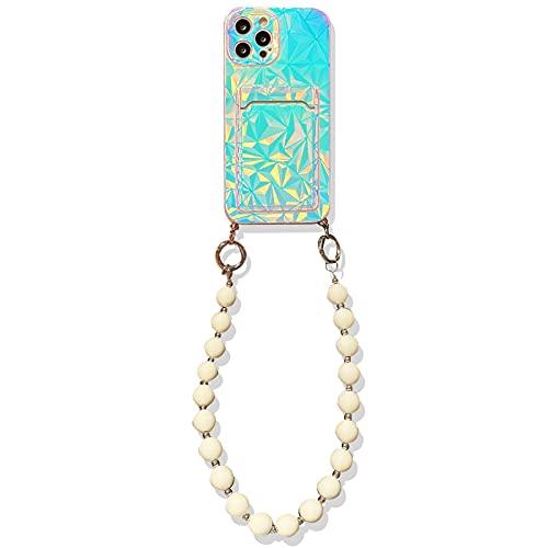 SGVAHY - Custodia unica per iPhone 12, motivo laser con slot per schede di protezione, morbida TUP, ultra sottile, con cinturino a catena di perle (perline diamantate, iPhone 12)