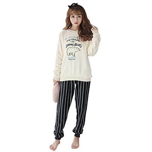 Greatangle-UK Conjunto de Pijamas de Franela Gruesa y cálida de otoño e Invierno para Mujer, Pijamas Gruesos cálidos y Bonitos de Dibujos Animados para Mujer, Oso Polar Blanco L