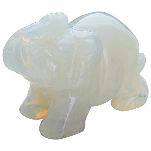 Opal Color Jade Glass Glass Auspicious Elephant Lucky Ornaments Crafts Decoration Healing Energy Crystal Jade Elephant Decorative Animal Pocket Stone Auspicious Hand-Carved Glass Elephant Statue Lucky