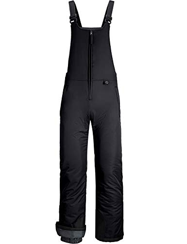 GEMYSE Men's Insulated Waterproof Ski Snow Bib Overalls Windproof Winter Pants (Black,XXL-Large)
