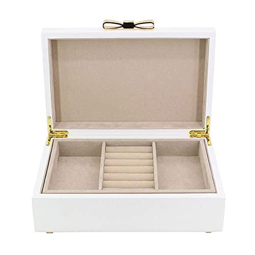 erddcbb Joyero de 2 Capas de Madera Blanca Joyero portátil Organizador de Almacenamiento de exhibición de joyería para Pendientes, Collares, Anillos, Pulseras, broches, joyero Organizador de Joyas