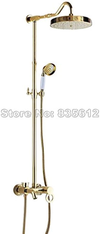 Luxurious shower Badezimmer Regendusche Wasserhahn Set Gold Farbe Messing Wand montiert einzigen Griff Badewanne Mischbatterie + Handheld Duschkopf Wgf 652, Gelb