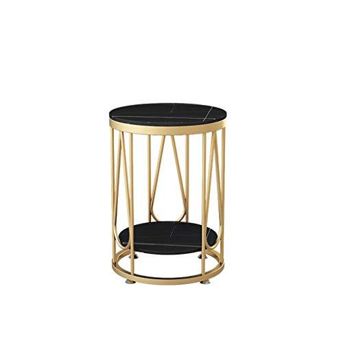Tavolino da Salotto Marmo Tavolino, Metallo Rotonda Sofa Table Cafe Ufficio Negozio di Abbigliamento Flower Shop Corner Table, Nero, 40 * 40 * 55cm, 50 * 50 * 55CM Grande