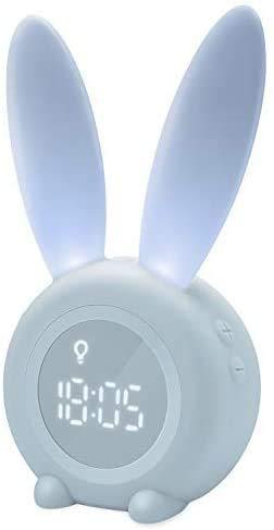 REAYOU Lindo conejo de despertador despertador luz creativa Lámpara de Noche de Luz, función de repetición, 6 sonidos fuertes, programada luz de la noche, Perfecto