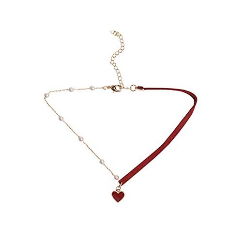 QiuYueShangMao Collar de Cadena de clavícula de corazón Rojo pequeño Corto, Collar de joyería, Correa de Temperamento Simple, Collar Rojo de Amor, Ropa de mujerpersonalizadas Collar Jovenes Collar