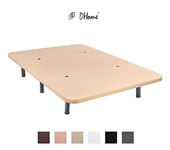 DHOME Base Tapizada 3D Negra o Crema Reforzada Acero + 4 o 6 Patas con Patas 30cm Bases tapizadas (105x190 Blanco, Sólo Base Tapizada)