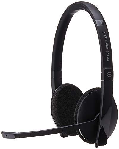 Sennheiser SC 160 USB (508315) – Fone de ouvido dupla face (Binaural) para profissionais de negócios | com som estéreo HD, microfone com cancelamento de ruído e conector USB (preto)