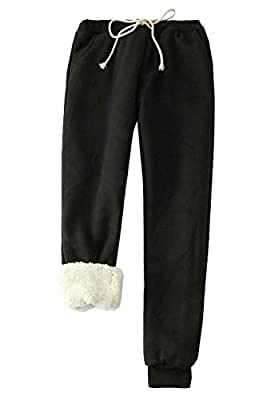 Flygo Womens Casual Running Hiking Pants Fleece Lined Activewear Sweatpants (Small, Black)