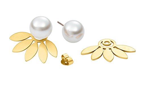 Heideman Ohrringe Damen Flora 5 aus Edelstahl gold farbend matt Ohrstecker für Frauen 2 in 1 Doppelstecker mit Swarovski Perle weiss rund 10mm