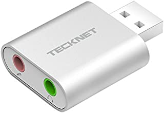 TECKNET Tarjeta de Sonido USB, Tarjeta de Sonido Externa Audio y Microfono 3.5mm para su Ordenador o Laptop Conecta Altavo...