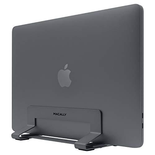 Macally VCSTAND platzsparender & stilvoller Stahlständer für MacBook, MacBook Air, MacBook Pro & jeden Laptop zwischen 1,6 & 1,6 cm bis 3 cm – Space Grey