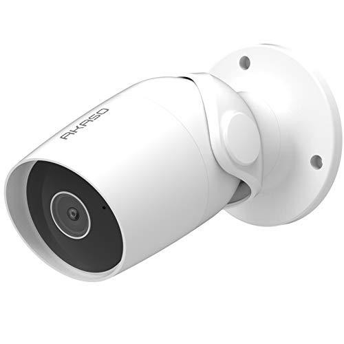 Outdoor Kamera 1080P, AKASO B60 Überwachungskamera Aussen WLAN IP65 wasserdicht mit Bewegungserkennung, Nachtsicht, Zwei-Wege-Audio Wireless Außenkamera, kompatibel mit Alexa, Google Home, Fire TV