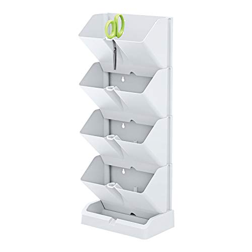 Prosperplast Fioriera Verticale Mini Cascade di plastica di Colore Bianco 19,5 (L) x 11,4 (P) x 47,5 (A) cm con Forbici da Giardino