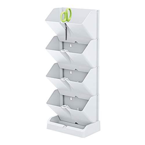 Prosperplast Fioriera Verticale Mini Cascade di plastica di Colore Bianco 19,5 (L) x 11,4 (P) x 47,5...