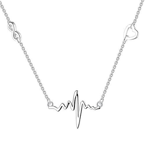 YL Herzschlag Halskette Anhänger, Anhänger Halskette aus 925 Silber Herz Halskette für Doktor Nurse