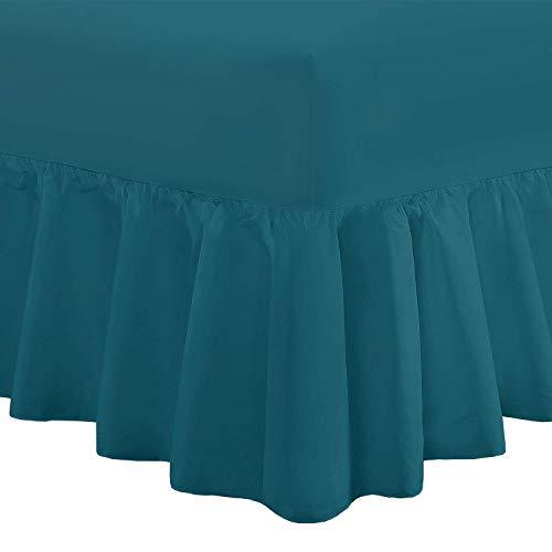 Nimsay Home Calidad de Lujo de Profundidad Adams–100% algodón de percal Cama sábana Bajera Ajustable de Cama, 100% algodón, Verde Azulado, Matrimonio Grande