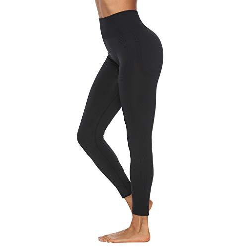 WOZOW Pantalon Pure Color Hip Lifting Seamless Elasticity Running Yoga Pants Gym Leggings Power Stretch Taille Haute Femmes en Cours D'exécution D'entraînement(Noir,L)