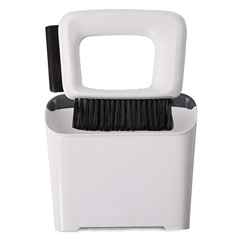 Recogedor de polvo y cepillo, rasqueta limpiacristales, mini escoba portátil, fácil de usar para el hogar, cocina, camping, sala de manualidades, coche, Blanco