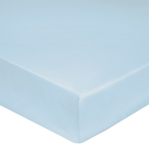 Blanc des Vosges Uni 57 fils Drap housse Coton Bleu ciel 70 x 190 cm bonnet de 27 cm