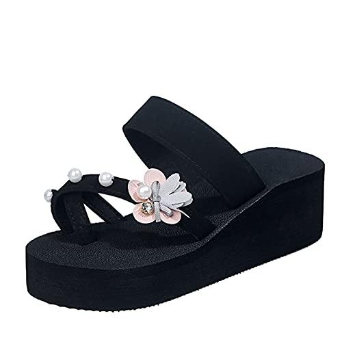 Luckycat Zapatillas de Cuña de Plataforma Informal con Flores de Diamantes de Imitación de Moda de Verano Mujer Sandalias de Playa 2021 Novedad de Verano Zapatillas Exteriores Cómodas y CóModas