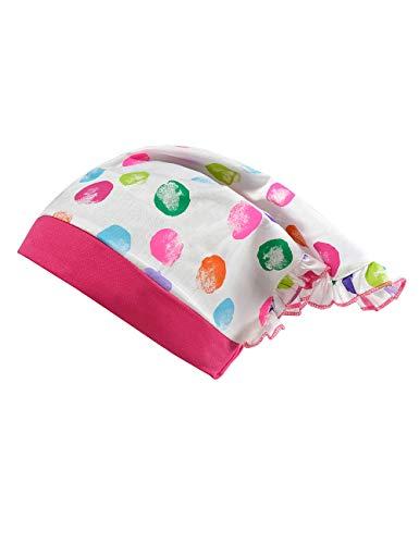 maximo Baby-Mädchen Kopftuch Mütze, Mehrfarbig (Weiß-Multicolour Punkte/Sun Pink 125), (Herstellergröße: 49)